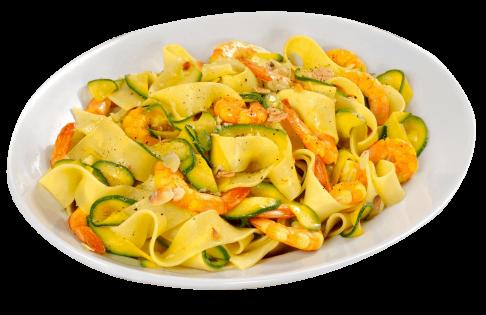 plat linguine zucchine e gamberi dans le nouvel excellent restaurant de saint laurent du var